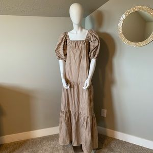 ASOS tall tan striped tiered maxi dress size 0